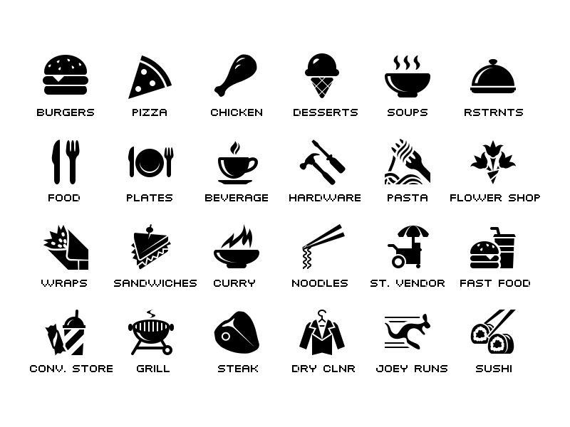 Food category glyph icons